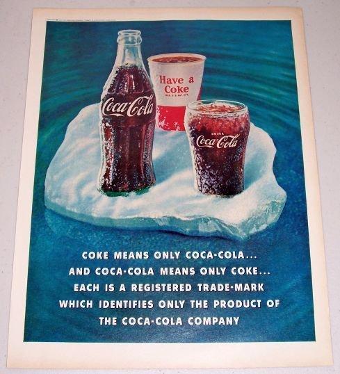 1960 Coca Cola Coke Color Soda Drink Print Ad
