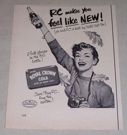 1953 RC Royal Crown Cola Soft Drink Soda Print Ad