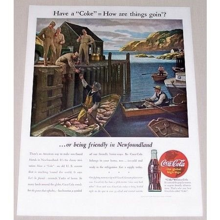 1944 Coca Cola Boat Dock Art Color Soda Print Ad - How Are Things Goin?