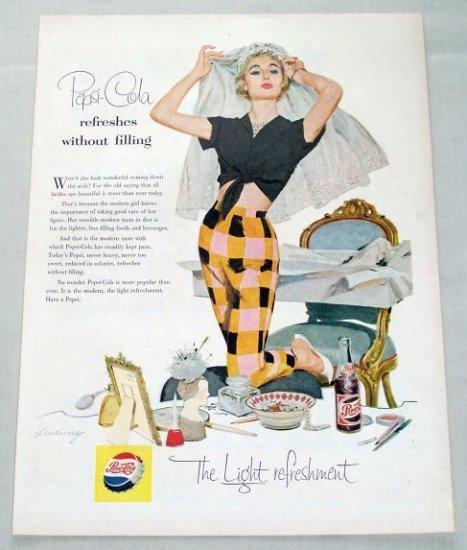 1955 Pepsi Cola Soft Drink Bride Art Soda Color Print Ad