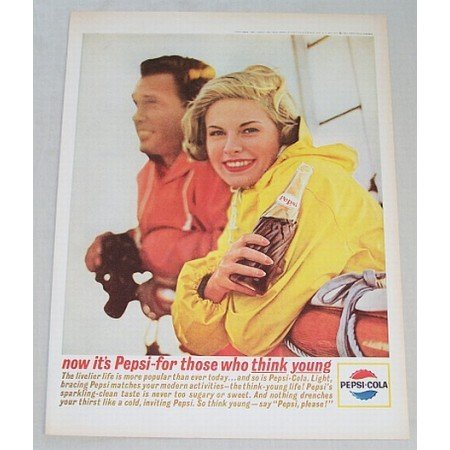 1963 Pepsi Cola Color Soda Soft Drink Print Ad - The Livelier Life