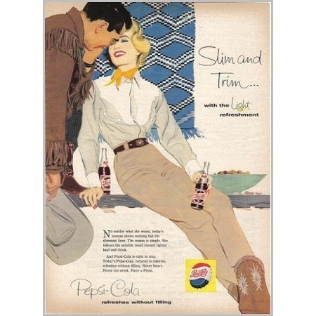 1958 Pepsi Cola Soda Soft Drink Western Art Color Print Ad - Slim and Trim