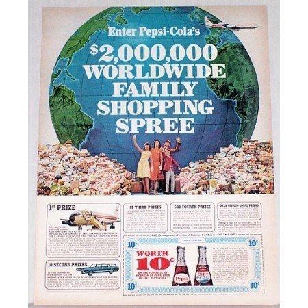 1966 Pepsi Cola Diet Pepsi Soda Soft Drink Color Print Ad - Shopping Spree