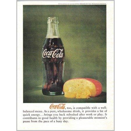 1961 Coca Cola Coke Soft Drink Color Soda Print Ad - Well-Balanced Menu