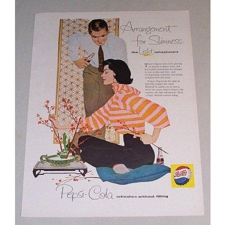 1958 Pepsi Cola Soft Drink Color Soda Art Print Ad - Arrangement For Slimness
