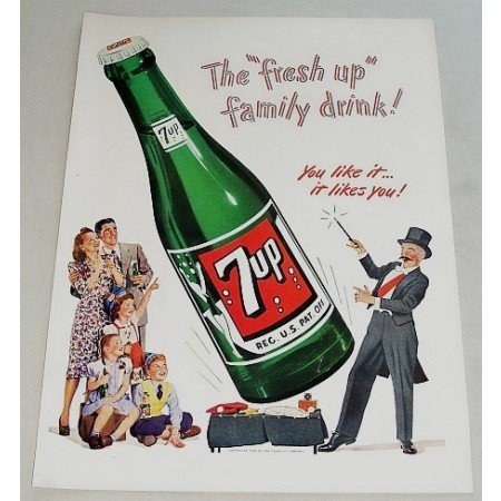 1948 7 UP Soda Soft Drink Color 7up Art Print Ad - Fresh Up Family Drink