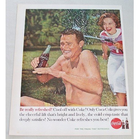 1960 Coca Cola Coke Soft Drink Color Soda Print Ad - Cool Off With Coke
