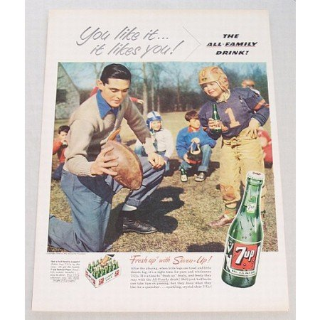 1953 7 UP Soda Soft Drink Football Color Print Ad - After The Playing