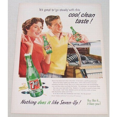 1956 7 UP Soda Soft Drink Jukebox Color Print Ad - Great To Go Steady