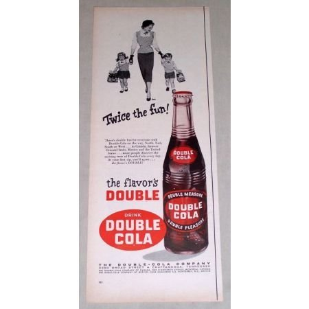 1956 Drink DOUBLE COLA Soda Color Print Ad - Twice The Fun