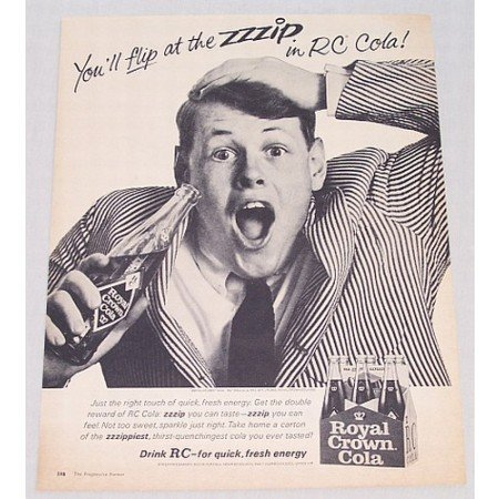 1965 RC Royal Crown Cola Soda Soft Drink Print Ad - Flip At The Zip
