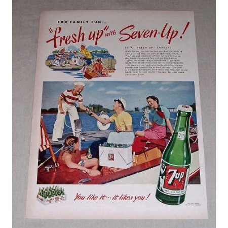 1949 7up Soda Soft Drink Family Sailboating Color Print Ad