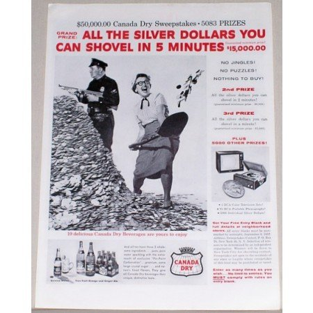 1957 Canada Dry Ginger Ale Sweepstakes Print Ad