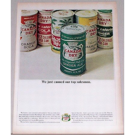 1964 Canada Dry Ginger Ale 12oz Cans Color Print Ad