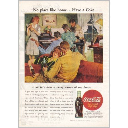 1945 Coca Cola Coke Soda Color Art Print Ad - No PLace Like Home