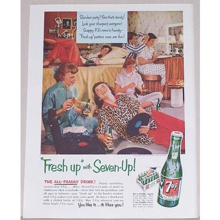 1954 7 UP Soda Color Print 7up Ad - Slumber Party