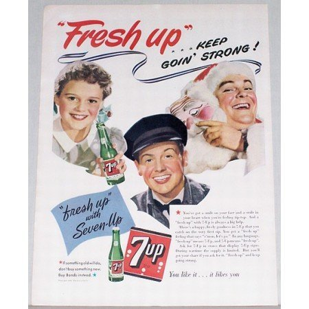 1943 7 UP Soda Color Art Print 7up Ad - Keep Goin' Strong!