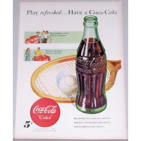 1948 Coca Cola Coke Hobbleskirt Bottle Tennis Art Color Print Ad - Play Refreshed