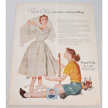 1954 Pepsi Cola Wedding Dress Art Color Soda Print Ad