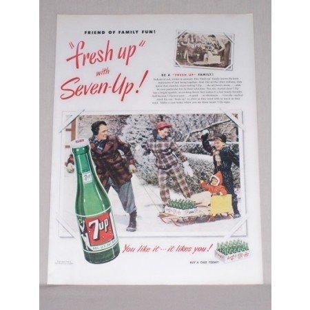 1950 7UP Soda Winter Scene Color Print Ad - Friend Of Family Fun