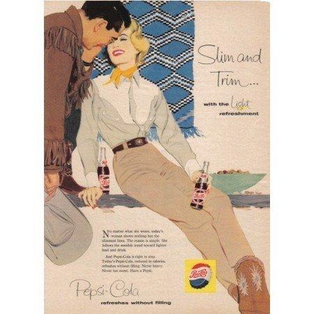 1958 Pepsi Cola Western Art Color Soda Ad - Slim And Trim