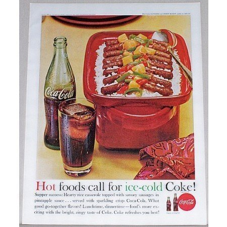 1962 Coca Cola Soft Drink Color Print Ad - Hot Foods Call...
