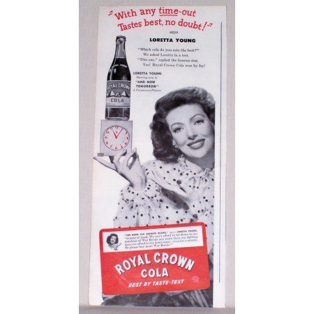1944 RC Royal Crown Cola Soda Print Ad Celebrity Loretta Young