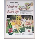 1948 7 UP Soda Color Tennis Court Print 7up Ad - Winning Serve