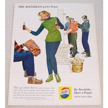 1960 Pepsi Cola Color Soda Art Print Ad - They Go Where Fun Is