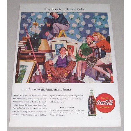 1946 Coca Cola Coke Color Soda Color Art Print Ad - Easy Does It..Have A Coke