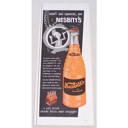1955 Nesbitt's Orange Soda Ocean Diver Art Color Print Ad