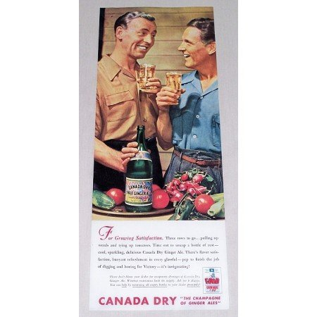 1944 Canada Dry Ginger Ale Color Print Ad - Growing Satisfaction