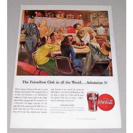 1946 Coca Cola Color Soda Diner Art Color Print Ad - The Friendliest Club