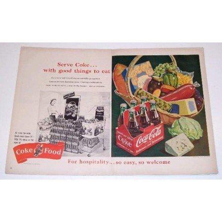 1951 Coca Cola 2 Page Color Soda Art Print Ad - Coke and Food