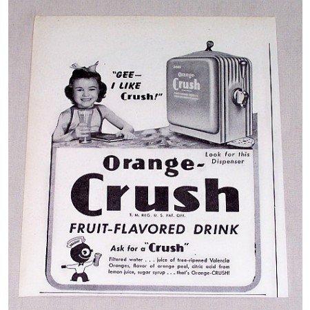 1946 Orange Crush Soda Soda Dispenser Print Ad