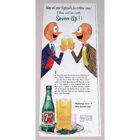 1956 7UP Soda Color Art Print 7 up Ad - May All Your Highballs....