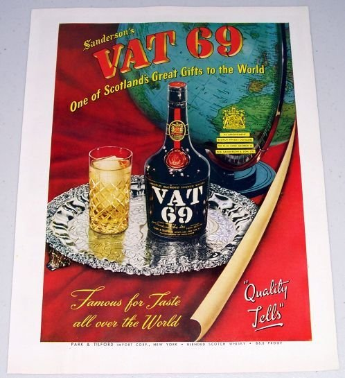 1949 Park & Tilford Vat 69 Blended Scotch Whisky Whiskey Color Print Ad