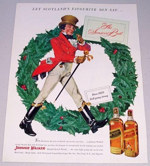 1949 Johnnie Walker Blended Scotch Whisky Whiskey Color Christmas Print Ad
