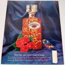 1961 Four Roses Whiskey Decanter Color Distillery Print Ad