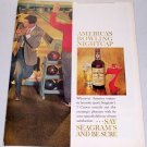 1961 Seagram's Crown Blended Whiskey Bowling Art 2 Page Color Print Ad
