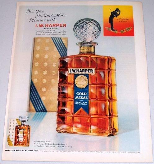 1962 I.W. Harper Gold Medal Kentucky Bourbon Decanter Color Print Ad
