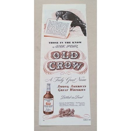 1944 Old Crow Bourbon Whiskey Color Print Ad
