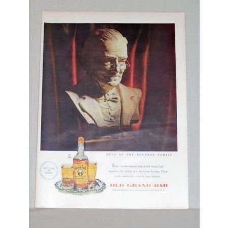 1948 Old Grand Dad Bourbon Whiskey Color Print Ad