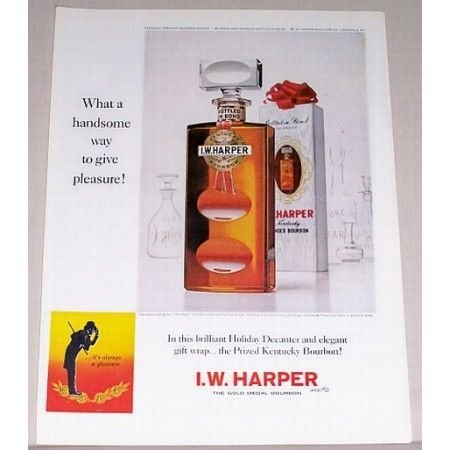 1963 I. W. Harper Whiskey Heritage Decanter Color Print Ad