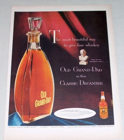 1954 Old Grand Dad Whiskey Classic Decanter Color Print Ad
