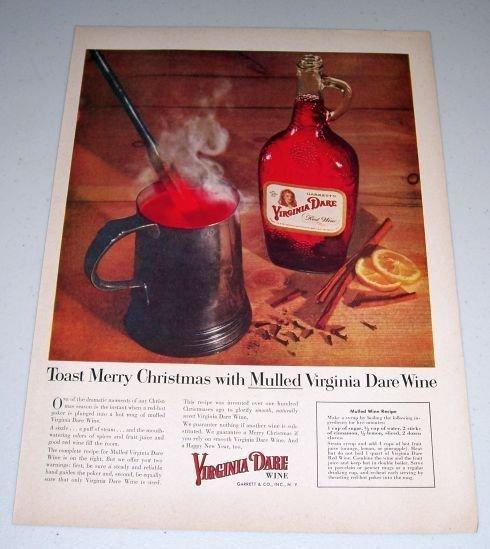 1954 Garrett's Mulled Virginia Dare Red Wine Color Print Ad