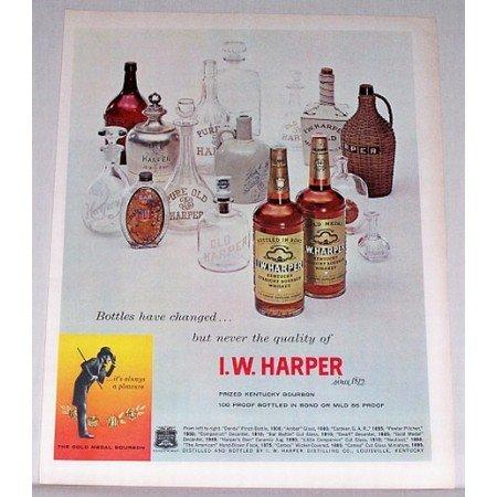 1962 I. W. Harper Bourbon Vintage Bottles Color Print Ad