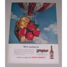 1949 Four Roses Blended Whiskey Hot Air Balloon Color Print Ad