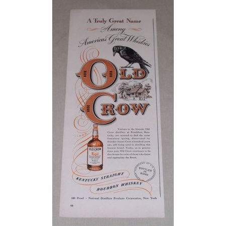 1949 Old Crow Bourbon Whiskey Color Print Ad