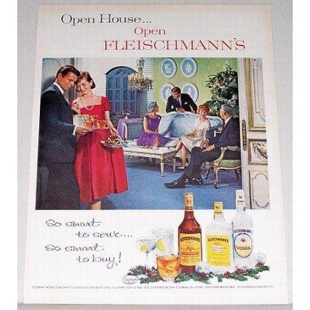 1962 Fleischmann's Dry Gin Color Print Ad - Open House